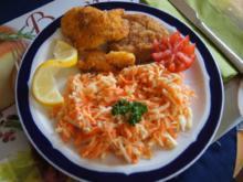 Schnitzelpfanne mit Möhren-Sellerie-Salat - Rezept