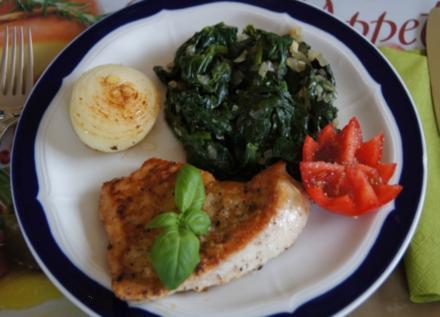 Putenschnitzel mit Ingwer-Spinat - Rezept