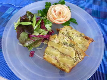 Kartoffelcake mit Käse und Speck. - Rezept