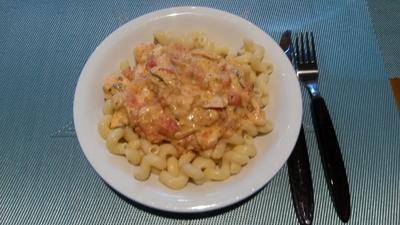 Pasta mit Lachs und Garnelen - Rezept