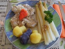 Kabeljaufilet mit Spargel und Kartoffelpilzen - Rezept