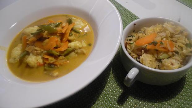 Scharfes Fisch-Curry mit gebratenem Eier-Reis - Rezept