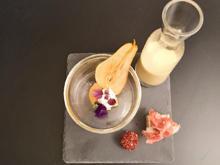Kartoffel Birnen Suppe mit Schinkenbrot - Rezept