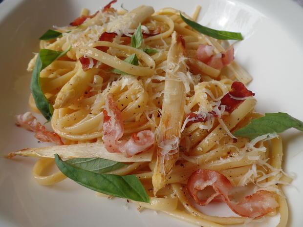 Spaghetti -Carbonara mit Spargel - Rezept