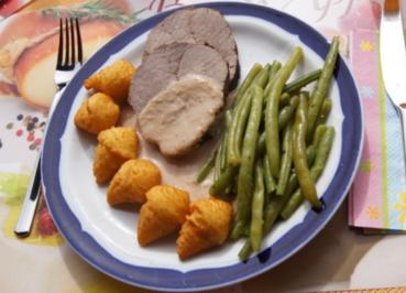 Rezept: Rinderbraten im Römertopf mit grünen Bohnen und Knusper-Kroketten