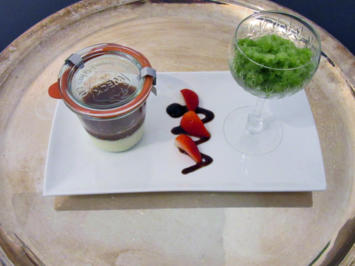 Panna Cotta mit Erdbeer Basilikum Mus und Basilikumsorbet - Rezept