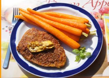 Curry-Sesam-Putenschnitzel mit Honigmöhren - Rezept