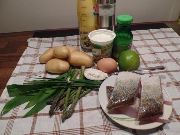 Bärlauch-Kartoffel-Puffer mit gegrilltem Zander und grünen Spargelspitzen - Rezept - Bild Nr. 2