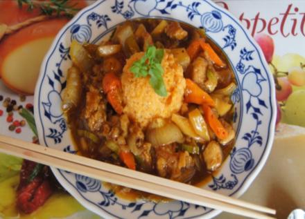 Putenfleisch süß-sauer mit Süßkartoffelreis - Rezept