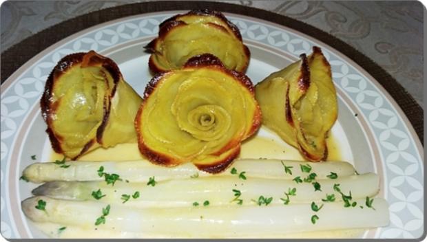 spargeln kartoffel rosen prager schinken und sauce hollandaise rezept. Black Bedroom Furniture Sets. Home Design Ideas