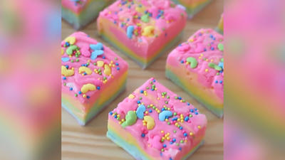 Rezept: Regenbogen-Kuchen ohne Backen