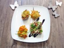 Gratiniertes Schweinefilet mit Julienne Gemüse  Risotto - Rezept