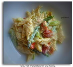 Penne mit grünem Spargel und Ricotta - Rezept