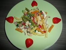 Fusilli Tricolore mit Champignons, Sahne, Paprika, Frühlingslauch. - Rezept - Bild Nr. 5