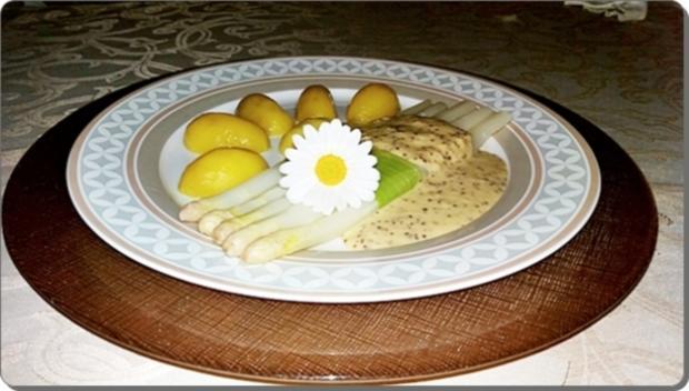 Spargel mit Sauce Dijonnaise und Pellkartoffeln - Rezept