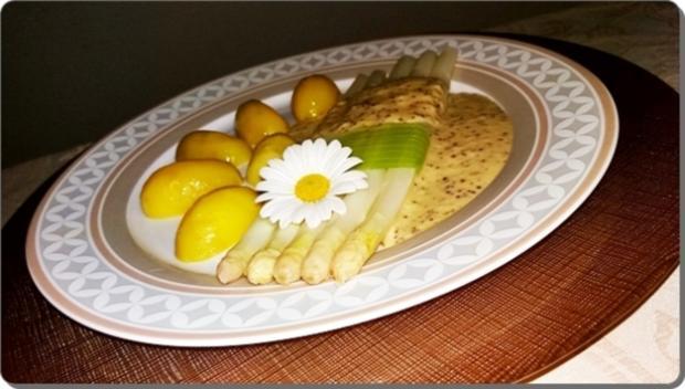 Spargel mit Sauce Dijonnaise und Pellkartoffeln - Rezept - Bild Nr. 3