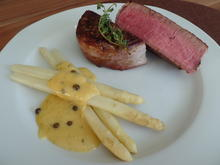 Rindermedaillons mit Spargel und Grüner-Pfeffer -Hollandaise - Rezept