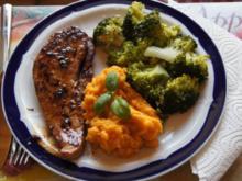 Schweineschinkenschnitzel mit Brokkoli und Süßkartoffelstampf - Rezept