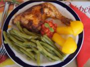 Hähnchenschenkel mit grünen Bohnen und Kartoffelpilzen - Rezept