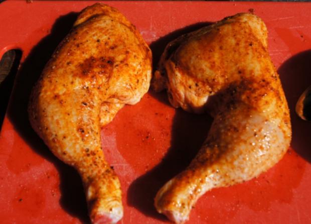 Hähnchenschenkel mit grünen Bohnen und Kartoffelpilzen - Rezept - Bild Nr. 4
