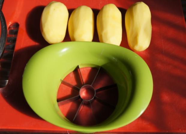 Hähnchenschenkel mit grünen Bohnen und Kartoffelpilzen - Rezept - Bild Nr. 10