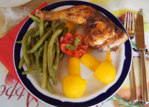 Hähnchenschenkel mit grünen Bohnen und Kartoffelpilzen - Rezept - Bild Nr. 13