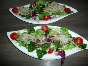 Rezept: Gemischter Salat mit Sprossen zu Schwenkbraten + Kartoffelbällchen.