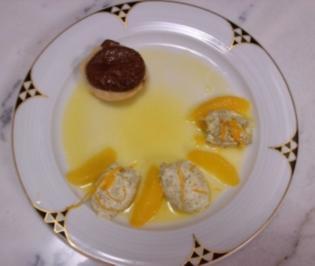 Kürbiskernmousse auf Orangenragout und Schoko-Natas - Rezept