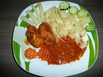 Involtini an Pappadelle, Spargel + Zucchini. - Rezept