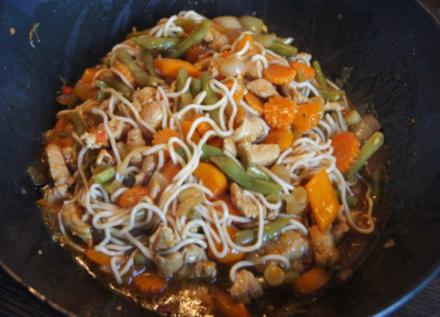 Putenschnitzel mit Gemüse und Nudeln im Wok - Rezept
