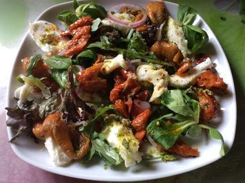 Getrocknete Paprika mit Mozzarella auf Salat - Rezept