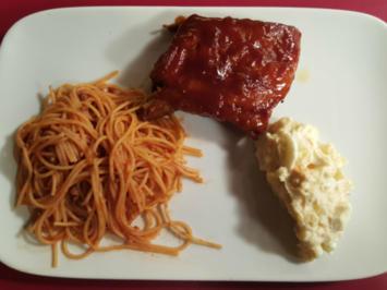 Rezept: BBQ Spare Ribs, American Kartoffelsalat und Sweet Spaghetti