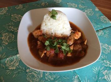 Rezept: Hähnchentopf, leicht scharf, indisch