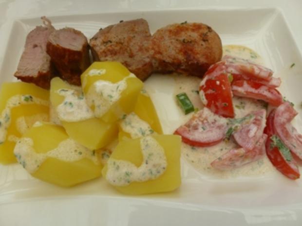 Gegrillte Filetspiesse mit Tomatensalat - Rezept - Bild Nr. 3