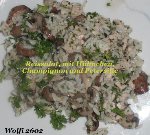 Reis-Geflügel-Salat mit Champignon - Rezept