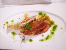 Langostinos auf Paprika-Ananas-Chutney und Basilikumpesto - Rezept