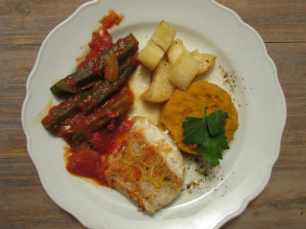 Fischfilet an Okrasoße mit Cassave (Maniok) und Süßkartoffeln - Rezept - Bild Nr. 9