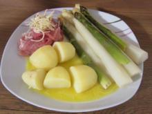 Landspargel mit Kartoffeln und Trüffelschinken auf einem holländischen Soßenspiegel - Rezept