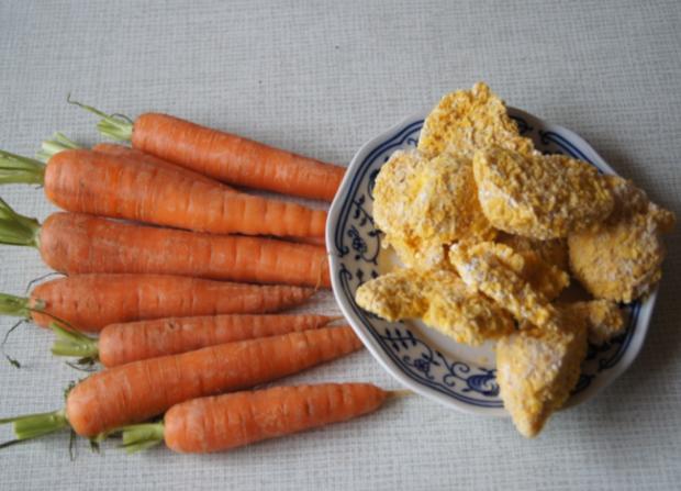 Hähnchen Chicken Chips mit karamellisierten Möhren - Rezept - Bild Nr. 2