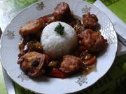 Hähnchenbrustfiletwürfel im Bierteig mit gemischten Gemüse und Reis - Rezept