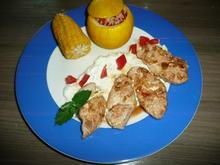 Gefüllte Zucchini,  an Zuckermais, Minz -Dipp und Putenstreifen. - Rezept - Bild Nr. 100