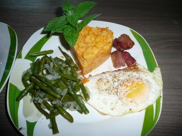 Karotten - Kartoffelstampf an Buschbohnen + Spiegelei. - Rezept - Bild Nr. 265