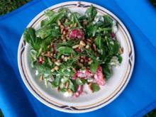 Feldsalat mit Kirschtomaten, Himbeeren, Feta und gerösteten Pinienkernen - Rezept - Bild Nr. 227