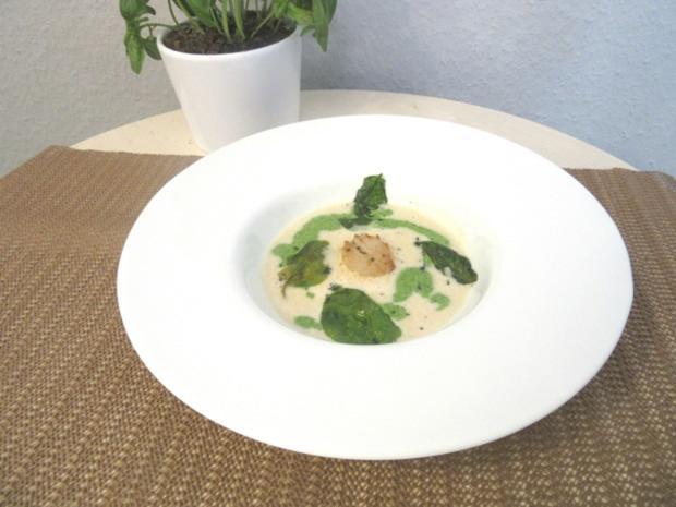 Petersilienwurzelsuppe mit Spinatschaum, frittiertem Spinat und Jakobsmuschel - Rezept