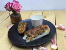 Überbackenes Ricotta-Spinat-Hähnchen / Süsskartoffeln / Rote-Bete-Chips - Rezept
