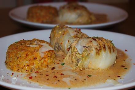 Chinakohl-Rouladen in Tomatensahne mit Linsotto - Rezept - Bild Nr. 365