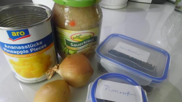 Kasseler-Braten mit Ananas-Sauerkraut und Klößen - Rezept - Bild Nr. 399
