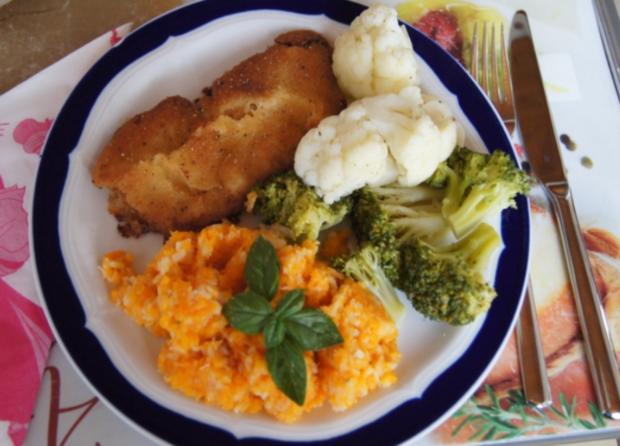 Wiener-Schnitzel vom Schwein mit Blumenkohl + Brokkoli und Möhren-Sellerie-Stampf - Rezept - Bild Nr. 537