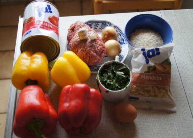 Hackfleisch-Bällchen in Paprika-Tomatengemüse mit Basmati-Mandelreis - Rezept - Bild Nr. 534