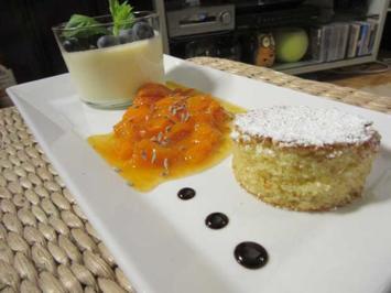 Cava-Créme, Aprikosen-Lavendelragout und Mandelkuchenhappen - Rezept